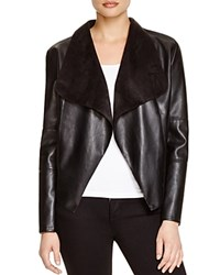Bagatelle Draped Faux Leather Jacket Black