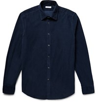 Boglioli Slim Fit Cotton Corduroy Shirt Blue