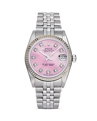 Pre Owned Rolex Stainless Steel And 18K White Gold Datejust Watch With Pink Mother Of Pearl And Diamond Dial 31Mm Pink Silver