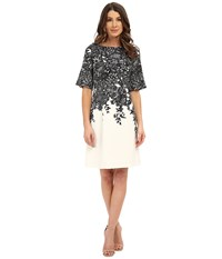 Adrianna Papell Elbow Length Bell Sleeve A Line Dress With Lace Print Black Ivory Women's Dress