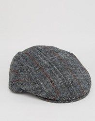 Asos Harris Tweed Flat Cap Charcoal Grey