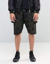 Asos Drop Cotch Shorts With D Rings In Camo Khaki Green