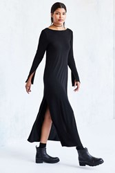Silence And Noise Column Long Sleeve Plunge Back Maxi Dress Black