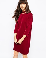 Paisie Cut Out Collar Dress Berry