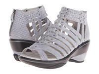 Jambu Sugar Polka Dot Cool Water Black Polka Dot Women's Wedge Shoes White