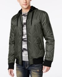 American Rag Men's Quilted Hooded Bomber Jacket Only At Macy's Dusty Olive