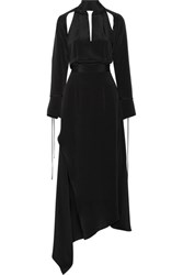 Juan Carlos Obando Cecilia Asymmetric Cutout Silk Crepe Maxi Dress Black