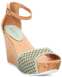 Kenneth Cole Reaction Sole Ness Platform Wedge Sandals Women's Shoes Turquoise