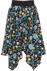 J.W.Anderson Printed Silk Crepe De Chine Skirt Midnight Blue