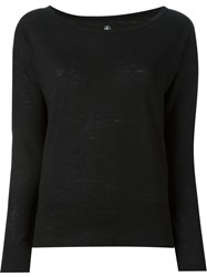 Petit Bateau Boat Neck Long Sleeve Classic Sweatshirt Black