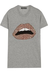 Markus Lupfer Kate Embellished Cotton Blend Jersey T Shirt Gray