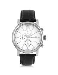 Forzieri Baviera Silver Tone Stainless Steel Case And Black Embossed Leather Men's Chrono Watch