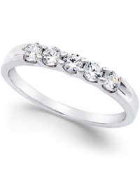 Macy's Diamond 5 Stone Band In Platinum 1 2 Ct. T.W.