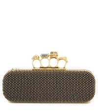 Alexander Mcqueen Knuckle Embellished Suede Box Clutch Gold