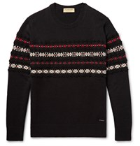 Burberry Fair Isle Cashmere And Wool Blend Sweater Black
