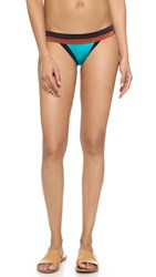 Milly Solid Swim Amalfi Colorblock Bikini Bottoms Aqua Multi
