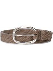Orciani Snakeskin Effect Belt Grey