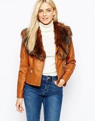Oasis Detachable Fur Collar Faux Leather Jacket Tan