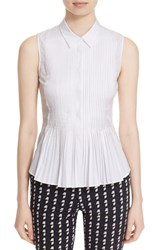 Theory Women's 'Dionelle B Sartorial' Sleeveless Pintuck Pleat Cotton Blouse White