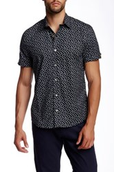 Parke And Ronen Delta Printed Short Sleeve Shirt Black
