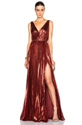 J. Mendel Lurex Chiffon Deep V Neck Gown In Red Metallics