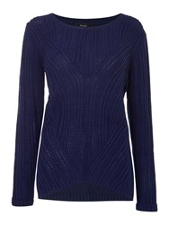 Therapy Rib Detail Cable Jumper Navy