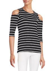 Red Haute Striped Cold Shoulder Top Black Natural