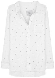 Rails Charli Anchor Print Linen Blend Shirt White
