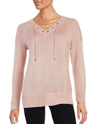 Calvin Klein V Neck Lace Up Sweater Blush
