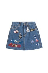 Marc Jacobs High Waisted Denim Skirt With Embellished Patches Blue