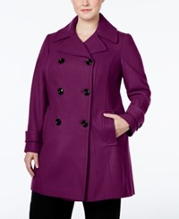 Anne Klein Plus Size Double Breasted Peacoat Only At Macy's Magenta