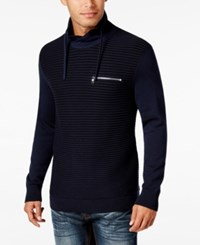 Inc International Concepts Men's Textured Funnel Neck Sweater Only At Macy's Basic Navy