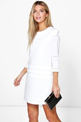 Boohoo Pleat Detail 3 4 Sleeve Shift Dress Cream