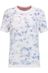 Tory Burch Printed Cotton T Shirt Blue
