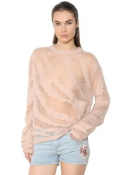 Roberto Cavalli Distressed Sheer Mohair Blend Sweater