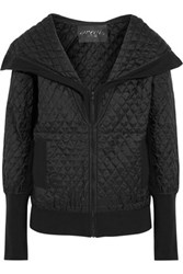 Norma Kamali Quilted Silk Shell Hooded Jacket Black