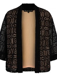 Mela Loves London Lace Contrast Kimono Jacket Black