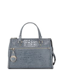 Class Roberto Cavalli Anais Large Croc Embossed Leather Satchel Bag Avio Blue
