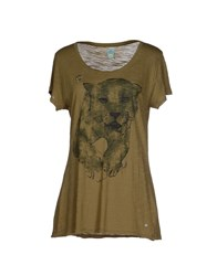 Replay Topwear T Shirts Women Military Green