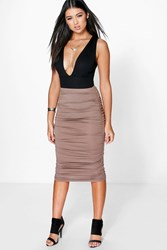 Boohoo Ruched Sides Jersey Midi Skirt Mocha