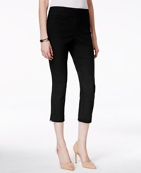 Charter Club Pull On Jacquard Cambridge Capri Pants With Tummy Control Only At Macy's Deep Black