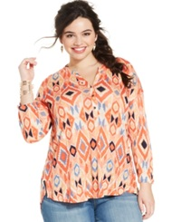 Lucky Brand Plus Size Aztec Print Henley Top