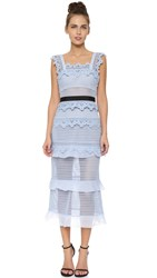 Self Portrait Petunia Crochet Midi Dress Light Blue Grey