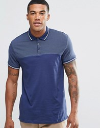 New Look Polo Shirt In Navy With Pin Dot Navy