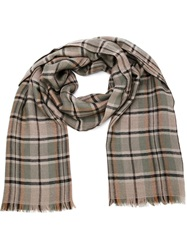 Tomas Maier Checked Scarf Brown