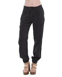 Xcvi Irene Drawstring Twill Pants Black