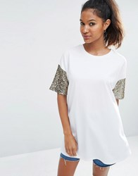 Asos T Shirt With Sequin Sleeve White Gold Multi