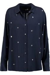 Love Moschino Embellished Crepe Shirt Blue
