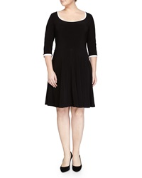 Melissa Masse Contrast Trim Stretch Fit And Flare Dress Black