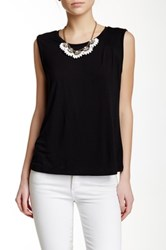 J.Crew Factory Shoulder Pleat Tank Black